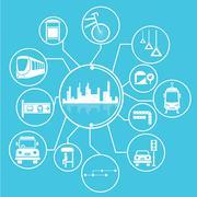 Metropolis and public transit Stock Illustration