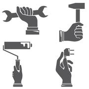 Hands with tools Stock Illustration