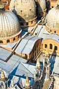 Overlooking the marcus church in venice from campanile de san marco Stock Photos