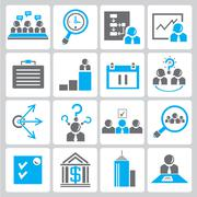 organization and business icons - stock illustration