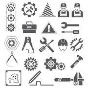 engineering icons, tool icons - stock illustration