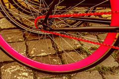 vintage look at one bicycle detail - stock photo
