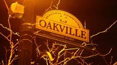 Downtown Oakville Sign Post Stock Footage