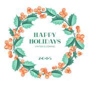 Christmas mistletoe wreath - stock illustration