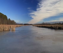 Autumn marsh with ice Stock Footage