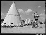 Cabins imitating the Indian teepee for tourists along highway south of Bardst Stock Photos
