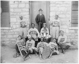 [African American baseball players from Morris Brown College, with boy and an Stock Photos