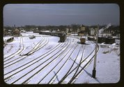 [Train and several sets of railroad tracks in the snow, Massachusetts] Stock Photos