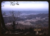 A woman painting a view of the Shenandoah Valley from the Skyline Drive, near Stock Photos