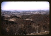 View of fields and wooded foothills from the Skyline Drive, Virginia Stock Photos
