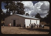 School at Pie Town, New Mexico is held at the Farm Bureau Building Stock Photos