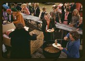 Serving pinto beans at the Pie Town, New Mexico Fair barbeque Stock Photos