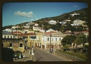 View down the main street from the Grand Hotel, Charlotte Amalie, St Stock Photos