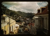 One of the steep streets on the hillsides, Charlotte Amalie, St Stock Photos