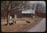 [Children playing by road near school house, Kansas?] Stock Photos
