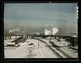 A general view of a classification yard at C & NW RR's Proviso yard, Chicago, Stock Photos