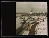General view of the hump, Chicago and Northwestern railroad classification ya Stock Photos