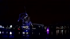 Lighting holiday decoration with fishing of santa Stock Footage