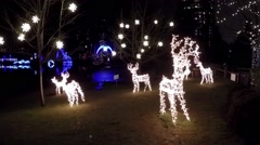 Reindeer lights holiday decoration Stock Footage