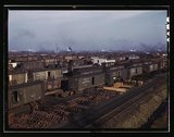 Freight cars being maneuvered in a Chicago and Northwestern railroad yard, Ch Stock Photos