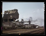 Servicing engines at coal and sand chutes at Argentine yard, Santa Fe R.R., K Stock Photos
