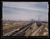 General view of the city and the Atchison, Topeka, and Santa Fe Railroad, Ama Stock Photos