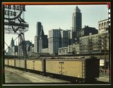 General view of part of the South Water street Illinois Central Railroad frei Stock Photos