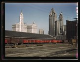 Trucks unloading at the inbound freight house of the Illinois Central Railroa Stock Photos