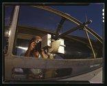 Jesse Rhodes Waller, A.O.M., third class, tries out a 30-calibre machine gun  Stock Photos