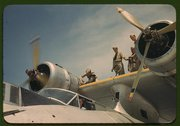 Working on a plane at the Naval Air Base, Corpus Christi, Texas Stock Photos