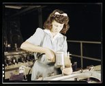 Drilling a wing bulkhead for a transport plane at the Consolidated Aircraft C Stock Photos