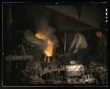 Casting a billet from an electric furnace, Chase Brass and Copper Co., Euclid Stock Photos