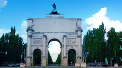 The Siegestor (en: Victory Gate) in Munich,time lapse Stock Footage