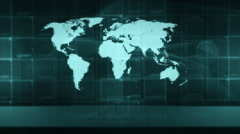 Map of the world, opener technology background generic (diffrent green) Stock Footage