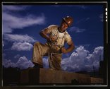 A carpenter at the TVA's new Douglas dam on the French Broad River, Tenn Stock Photos
