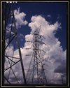 Transmission towers in the switchyard of TVA's Chickamauga Dam, near Chattano Stock Photos