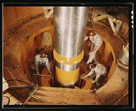 Checking the alignment of a turbine shaft at the top of the guide bearing in  Stock Photos