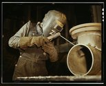 Welder making boilers for a ship, Combustion Engineering Co., Chattanooga, Tenn. Stock Photos