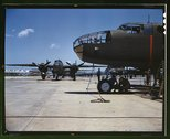 New B-25 bombers lined up for final inspection and tests at the flying field  Stock Photos