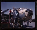 North American B-25 bomber is prepared for painting on the outside assembly l Stock Photos