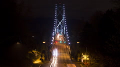 Lions Gate bridge, Vancouver. Time lapse at night. Viewed from Stanley Park. Stock Footage