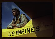 Marine glider pilot in training at Page Field, watching take-offs, Parris Isl Stock Photos