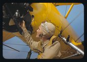 Marine lieutenant by the power towing plane for the gliders at Parris Island, Stock Photos