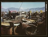 Scrap and salvage depot, Butte, Montana Stock Photos