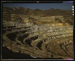 View of the Utah Copper Company open-pit mine workings at Carr Fork, as seen  Stock Photos