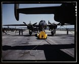 A fast, hard-hitting new A-20 [i.e., B-25] attack bomber is brought for a tes Stock Photos