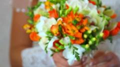 Wedding bouquet in hands of bride Stock Footage