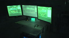 3 Computer Screens Owned By Hacker - stock footage