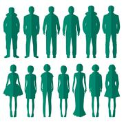 standing people silhouettes - stock illustration