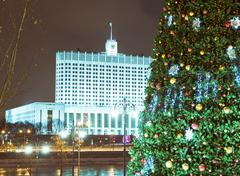 christmas tree and architecture of moscow - stock photo
